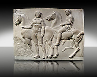 Releif Sculptures from the frieze around the Parthenon Block V. From the Parthenon of the Acropolis Athens. A British Museum Exhibit known as The Elgin Marbles