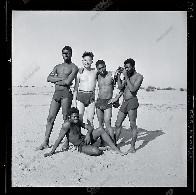 """Self-portrait with African journalism delegates on the """"Island of Sun"""", Harbin, 21 August 1967."""
