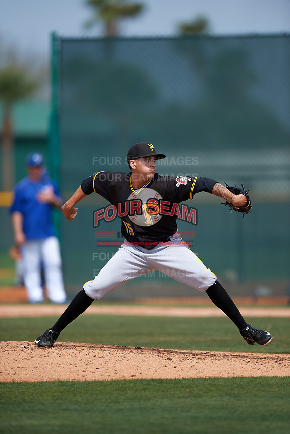 Pittsburgh Pirates Julio Eusebio (45) during a minor league Spring Training game against the Toronto Blue Jays on March 24, 2016 at Pirate City in Bradenton, Florida.  (Mike Janes/Four Seam Images)