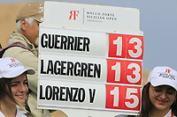 Mobile scoreboard during the final round of the Rocco Forte Sicilian Open played at Verdura Resort, Agrigento, Sicily, Italy 13/05/2018.<br /> Picture: Golffile | Phil Inglis<br /> <br /> <br /> All photo usage must carry mandatory copyright credit (&copy; Golffile | Phil Inglis)