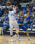 January 14, 2017:  Air Force guard, Trevor Lyons #20, drives for the basket during the NCAA basketball game between the San Jose State Spartans and the Air Force Academy Falcons, Clune Arena, U.S. Air Force Academy, Colorado Springs, Colorado.  San Jose State defeats Air Force 89-85.
