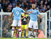 2nd November 2019; Etihad Stadium, Manchester, Lancashire, England; English Premier League Football, Manchester City versus Southampton; Gabriel Jesus of Manchester City shakes hands with goalscorer Sergio Aguero after his 70th minute equaliser - Strictly Editorial Use Only. No use with unauthorized audio, video, data, fixture lists, club/league logos or 'live' services. Online in-match use limited to 120 images, no video emulation. No use in betting, games or single club/league/player publications