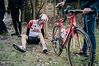 Brian van Goethem (NED/Lotto-Soudal) crashes hard on the rough, wet cobbles after the rider ahead of him slips to the ground<br /> <br /> 51th Le Samyn 2019 <br /> Quaregnon to Dour (BEL): 200km<br /> <br /> ©kramon