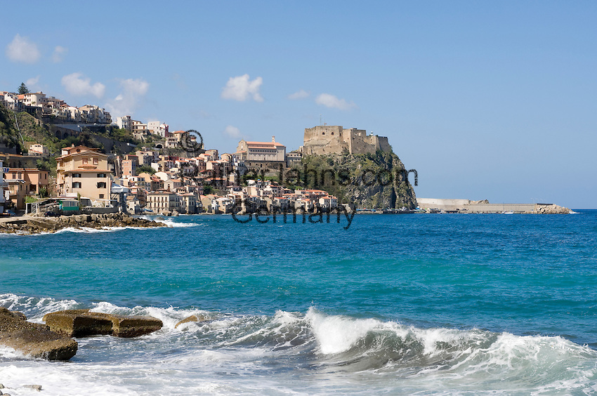 Italy, Calabria, Scilla: beach resort with castle Chianalea at entrance of Straits of Messina