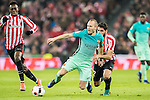 Andres Iniesta Lujan (c) of FC Barcelona battles for the ball with Raul Garcia of Athletic Club during their Copa del Rey Round of 16 first leg match between Athletic Club and FC Barcelona at San Mames Stadium on 05 January 2017 in Bilbao, Spain. Photo by Victor Fraile / Power Sport Images