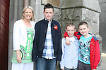 Jordan Smith with Helen, Darren and Nathan at the Confirmation in St.Mary's Church...Photo NEWSFILE/Jenny Matthews.(Photo credit should read Jenny Matthews/NEWSFILE)....This Picture has been sent you under the condtions enclosed by:.Newsfile Ltd..The Studio,.Millmount Abbey,.Drogheda,.Co Meath..Ireland..Tel: +353(0)41-9871240.Fax: +353(0)41-9871260.GSM: +353(0)86-2500958.email: pictures@newsfile.ie.www.newsfile.ie.FTP: 193.120.102.198.