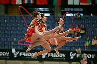 USA Senior Group cossack jumps with 5 ropes at 2007 Genoa World Cup of Rhythmic Gymnastics Groups on June 9, 2007 at Genoa, Italy.  (Photo by Tom Theobald)