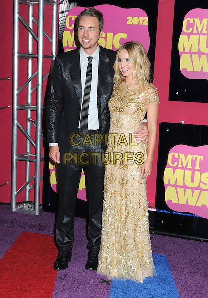 Dax Shepard and Kristen Bell.2012 CMT Music Awards held at Bridgestone Arena, Nashville, Tennessee, USA..June 6th, 2012.full length black suit gold dress sequins sequined couple .CAP/ADM/LF.©Laura Farr/AdMedia/Capital Pictures.
