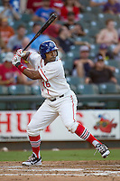 Wearing an Austin Senators throwback uniform, Round Rock Express outfielder Joey Butler (16) at bat during the Pacific Coast League baseball game against the Oklahoma City RedHawks on July 9, 2013 at the Dell Diamond in Round Rock, Texas. Round Rock defeated Oklahoma City 11-8. (Andrew Woolley/Four Seam Images)