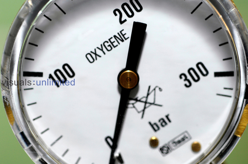 Close up of a pressure meter for an oxygen tank. Royalty Free