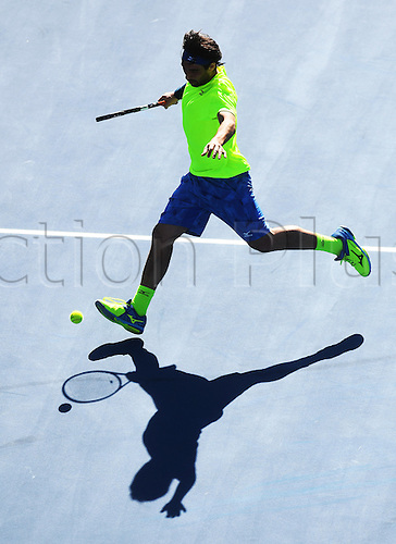 12.01.2017. ASB Tennis Centre, Auckland, New Zealand. ASB Classic Tennis, Day 13. Marcos Baghdatis of Cyprus during his quarter final singles match at the ASB Classic. Baghdatis won his match in straight sets.
