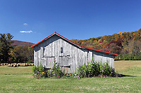 An old barn with a red roof on the side of the road in Albemarle County, VA.  Photo/Andrew Shurtleff