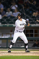 Daniel Palka (22) of the Charlotte Knights at bat against the Toledo Mud Hens at BB&T BallPark on April 24, 2019 in Charlotte, North Carolina. The Knights defeated the Mud Hens 9-6. (Brian Westerholt/Four Seam Images)