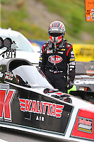 Jun 19, 2015; Bristol, TN, USA; NHRA top fuel driver J.R. Todd during qualifying for the Thunder Valley Nationals at Bristol Dragway. Mandatory Credit: Mark J. Rebilas-