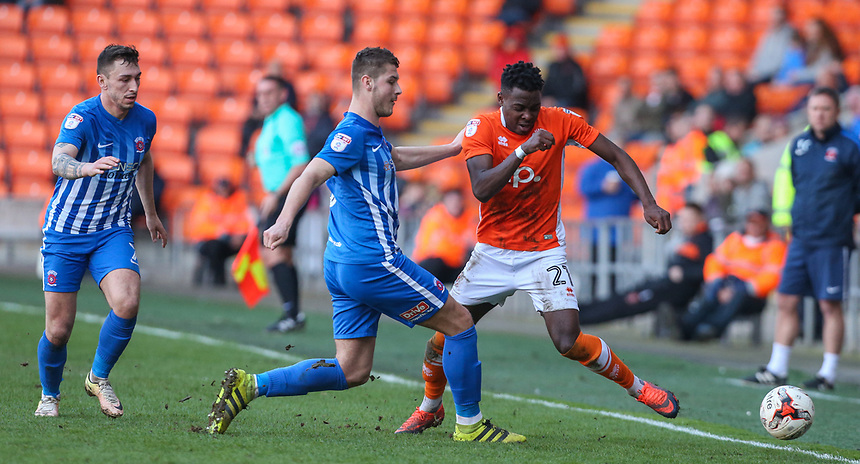 Blackpool's Bright Osayi-Samuel vies for possession with Hartlepool United's Brad Walker<br /> <br /> Photographer Alex Dodd/CameraSport<br /> <br /> The EFL Sky Bet League Two - Blackpool v Hartlepool United - Saturday 25th March 2017 - Bloomfield Road - Blackpool<br /> <br /> World Copyright &copy; 2017 CameraSport. All rights reserved. 43 Linden Ave. Countesthorpe. Leicester. England. LE8 5PG - Tel: +44 (0) 116 277 4147 - admin@camerasport.com - www.camerasport.com
