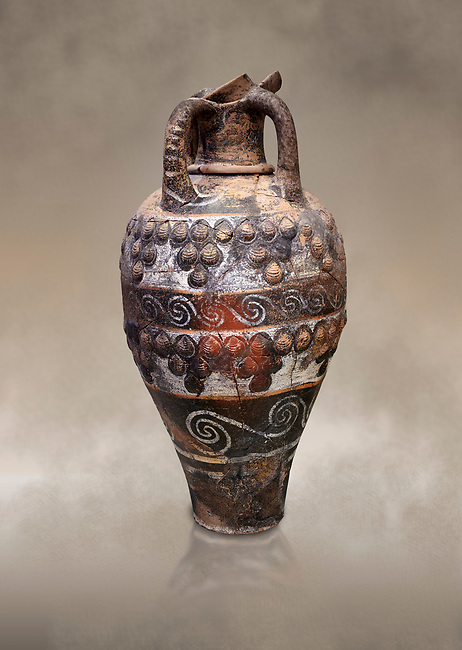 Minoan Kamares Ware ewer jug with applique seashell decorations , Phaistos 1800-1700 BC; Heraklion Archaeological  Museum.<br /> <br /> This style of pottery is named afetr Kamares cave where this style of pottery was first found