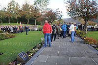 15.10.2016 - Aberfan, Mid Glamorgan, South Wales - A wreath laying ceremony by veterans of the King's Own regiment at the  former Pantglas junior school now a memorial garden. <br /> <br /> <br /> Jeff Thomas Photography -  www.jaypics.photoshelter.com - <br /> e-mail swansea1001@hotmail.co.uk -<br /> Mob: 07837 386244 -