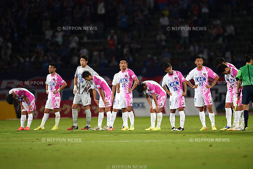 Sagan Tosu team group,<br /> SEPTEMBER 13, 2014 - Football / Soccer :<br /> Sagan Tosu players look dejected after the 2014 J.League Division 1 match between Ventforet Kofu 1-0 Sagan Tosu at Yamanashi Chuo Bank Stadium in Yamanashi, Japan. (Photo by AFLO)