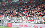 01.12.2018, Stadion an der Wuhlheide, Berlin, GER, 2.FBL, 1.FC UNION BERLIN  VS.SV Darmstadt 98, <br /> DFL  regulations prohibit any use of photographs as image sequences and/or quasi-video<br /> im Bild Zuschauer, Besucher Schweige-Postest<br /> <br /> <br />      <br /> Foto &copy; nordphoto / Engler