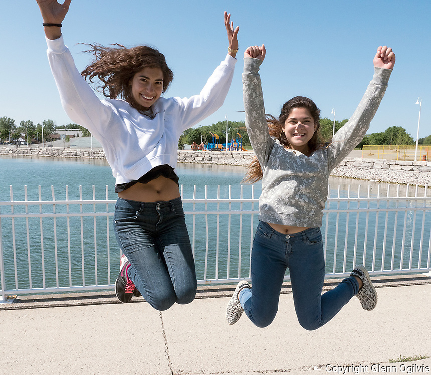 Monserrath Padila Martinez, left and Frida Seevra Flores of Mexico were at Centennial Park, Friday, June 2 to celebrate their arrival in Sarnia. They are new Lambton College students who are taking a three month graphic art class. They were taking selfies along the Centennial Park waterfront and what better place than the recently opened walkway through the park which has been closed to the public for the past four years.