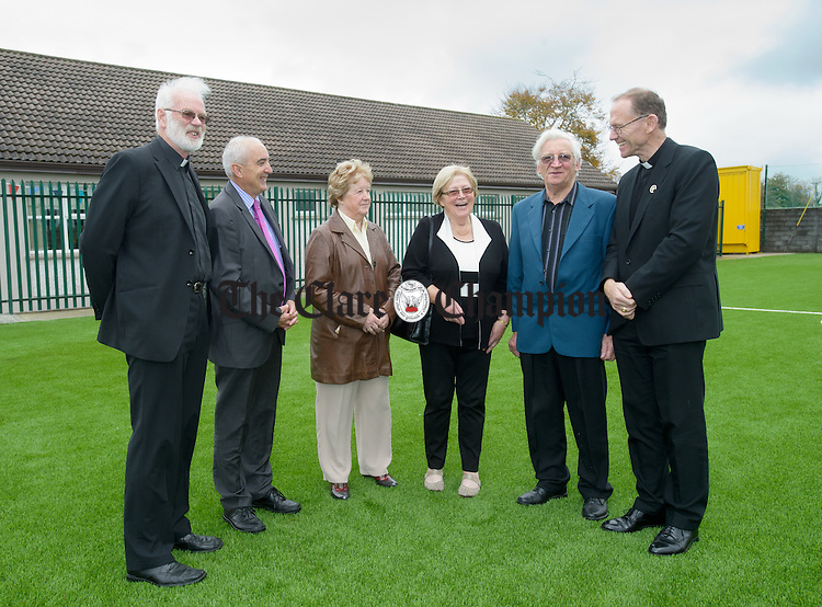 Fr Pat O Neill, PP, Joe Carmody. former principal, Mary Marrinan, former teacher, Eileen Barry, former principal and Bishop Fintan Monahan at the official opening of the new pitch and building extension on the 50th anniversary of Toonagh NS. Photograph by John Kelly.