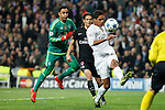 Real Madrid´s Keylor Navas and Raphael Varane and Paris Saint-Germain´s Edison Cavani during Champions League soccer match between Real Madrid  and Paris Saint Germain at Santiago Bernabeu stadium in Madrid, Spain. November 03, 2015. (ALTERPHOTOS/Victor Blanco)