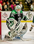 24 October 2015: University of North Dakota Goaltender Matt Hrynkiw, a Junior from Saskatoon, Saskatchewan, in second period action against the University of Vermont Catamounts at Gutterson Fieldhouse in Burlington, Vermont. North Dakota defeated the Catamounts 5-2 in the second game of their weekend series. Mandatory Credit: Ed Wolfstein Photo *** RAW (NEF) Image File Available ***