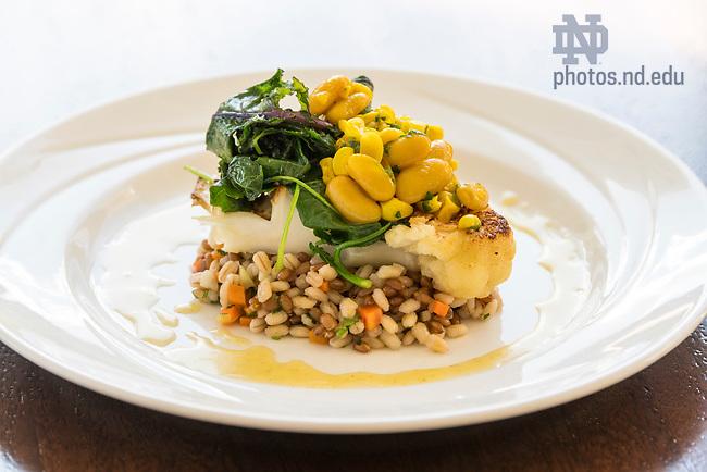 September 16, 2018; Morris Inn Banquet Food Plate Shots. (Photo by Barbara Johnston/University of Notre Dame)