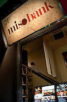 Entrance to Misobank miso restaurant, Tokyo, Japan, December 14 2009.Misobank specializes in miso for all over Japan.