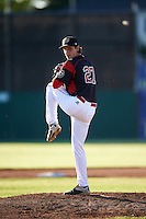 Batavia Muckdogs starting pitcher Ryan McKay (27) delivers a pitch during a game against the State College Spikes on June 23, 2016 at Dwyer Stadium in Batavia, New York.  State College defeated Batavia 8-4.  (Mike Janes/Four Seam Images)
