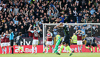 Players on both sides react after Burnley's Matthew Lowton failed to prevent a strike from Manchester City's Sergio Aguero crossing the line for the opening goal<br /> <br /> Photographer Rich Linley/CameraSport<br /> <br /> The Premier League - Burnley v Manchester City - Sunday 28th April 2019 - Turf Moor - Burnley<br /> <br /> World Copyright © 2019 CameraSport. All rights reserved. 43 Linden Ave. Countesthorpe. Leicester. England. LE8 5PG - Tel: +44 (0) 116 277 4147 - admin@camerasport.com - www.camerasport.com