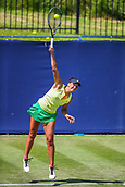 June 18th 2017, Edgbaston Priory Club; Tennis Tournament; Aegon Classic Birmingham; Sunday Qualifiers; Aleksandrina Naydenova serves against Marketa Vondrousovs