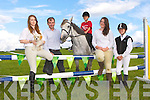 Launching the Killorglin Pony show which will be held in the Puck Fair Horse field on 4th August was front row l-r: Julia O'Neill, Robbie Evans, Daniel Evans, Michaela Foley and Rachel Evans
