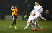 5th February 2019, Rodney Parade, Newport, Wales; FA Cup football, 4th round replay, Newport County versus Middlesbrough; Robbie Willmott of Newport County strikes the ball to put Newport County 1-0 up in the 47th minute