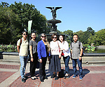 Wen Chen, Zhenzhu Ma, Bonnie Comley, Yanping Ma, Xuejiao Bai and Zhiyong Liu, Central Academy of Drama: Professors visit Bethesda Terrace and Fountain on September 25, 2017 at the The Central Park Summer Stage  in New York City.