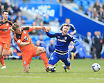 Cardiff?s Anthony Pilkington tussles with Ipswich?s Christophe Berra during the Sky Bet Championship League match at The Cardiff City Stadium.  Photo credit should read: David Klein/Sportimage