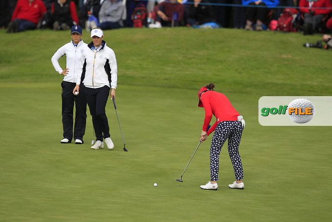 Brittany Altomare of Team USA on the 10th green during Day 1 Fourball at the Solheim Cup 2019, Gleneagles Golf CLub, Auchterarder, Perthshire, Scotland. 13/09/2019.<br /> Picture Thos Caffrey / Golffile.ie<br /> <br /> All photo usage must carry mandatory copyright credit (© Golffile | Thos Caffrey)