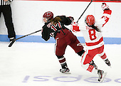 Kaitlin Spurling (Harvard - 17), Kayla Tutino (BU - 8) - The Boston University Terriers defeated the visiting Harvard University Crimson 2-1 on Sunday, November 18, 2012, at Walter Brown Arena in Boston, Massachusetts.