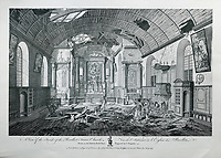 Inside of the Recollect Friars' Church, or Eglise des Recollets, with damaged roof, on the Place des Armes, engraving by C Grignion after a drawing by Richard Short, published in 1761 as a collection of Views of Quebec in the 18th century, by Thomas Jefferys in London, in the collection of the Musees du Quebec, Quebec City, Quebec, Canada. Picture by Manuel Cohen