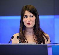 NEW YORK, NY - APRIL 11, 2014: Actress Amelia Rose Blaire rings The NASDAQ Stock Market Opening Bell on April 11, 2014 in New York City © HP/Starlitepics.