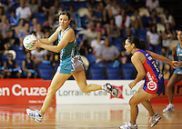 """20.03.2010 Mystics (R) Temepare George and Thunderbirds Natalie Von Bertouch in action during the ANZ Champs Netball match between the Mystics and Thunderbirds at Trusts Stadium in Auckland. Mandatory Photo Credit ©MBPHOTO. """"FREE FOR EDITORIAL USE"""""""