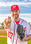 28 February 2016: Washington Nationals pitcher Tanner Roark poses for his Spring Training Photo-Day portrait at Space Coast Stadium in Viera, Florida. Mandatory Credit: Ed Wolfstein Photo *** RAW (NEF) Image File Available ***