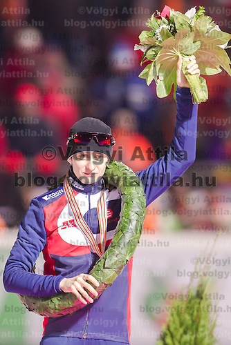 Czech Republic's Martina Sablikova celebrates her victory on the Speed Skating All-round European Championships in Budapest, Hungary on January 8, 2012. ATTILA VOLGYI