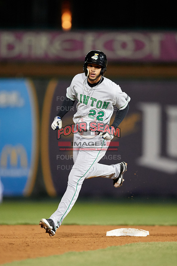 Clinton LumberKings center fielder Luis Liberato (22) runs the bases during a game against the South Bend Cubs on May 5, 2017 at Four Winds Field in South Bend, Indiana.  South Bend defeated Clinton 7-6 in nineteen innings.  (Mike Janes/Four Seam Images)