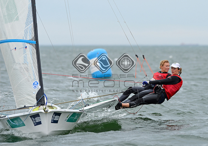 49er FX Medals / Haylee OUTTERIDGE &amp; Ella CLARK (AUS)<br /> 2013 ISAF Sailing World Cup - Melbourne<br /> Sail Melbourne - The Asia Pacific Regatta<br /> Sandringham Yacht Club, Victoria<br /> December 1st - 8th 2013<br /> &copy; Sport the library / Jeff Crow