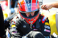 May 6, 2012; Commerce, GA, USA: NHRA top fuel dragster driver David Grubnic during the Southern Nationals at Atlanta Dragway. Mandatory Credit: Mark J. Rebilas-