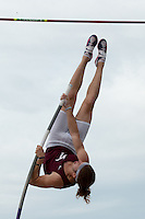 Jenks senior Tommy Dial tries to clear the pole vault bar at 17-5.5 at the 2015 Kansas Relays.