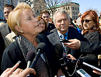 PQ leader Pauline Marois speaks in a press conference in front of the Quebec Legislature building in Quebec City April 24, 2008. Marois announced that she would like the province to have control over Radio-television and Telecommunications issues, a currently under control of the federal with the CRTC.<br /> <br /> PHOTO :  Francis Vachon - Agence Quebec Presse