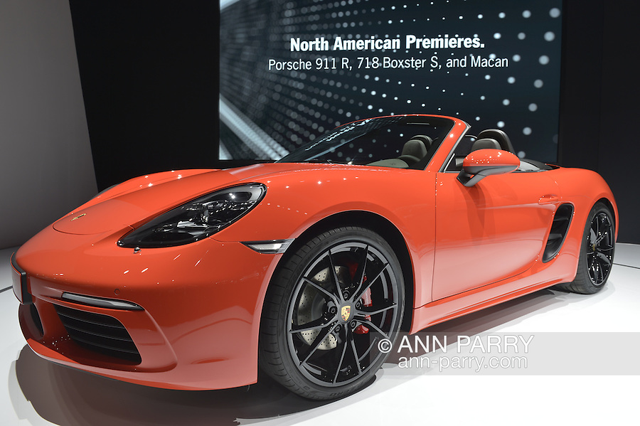 The Porsche 718 Boxster S made its North American premiere at the New York International Auto Show 2016, at the Jacob Javits Center. This was Press Preview Day one of NYIAS, and the Trade Show will be open to the public for ten days, March 25th through April 3rd.