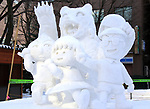 February 3, 2019, Sapporo, Japan - A snow sculpture of cartoon characters Chibi Maruko-chan and her friends is displayed at the 70th annual Sapporo Snow Festival in Sapporo in Japan's nortern island of Hokkaido on Sunday, February 3, 2019. The week-long snow festival will open on February 4 through February 11 and over 2.5 million people are expecting to visit the festival.   (Photo by Yoshio Tsunoda/AFLO) LWX -ytd-